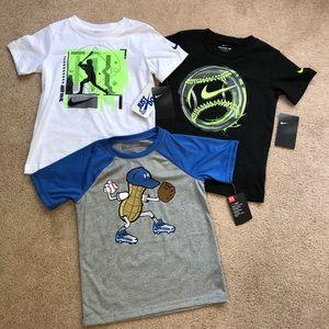 Boys size 6 Nike/under armour baseball tees